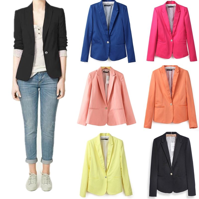 Ladies Blazer Long Sleeve Blaser Women Suit Jacket Female Feminine Blazer Femme Pink Blue Yellow Black Blazer Autumn Hot Casual