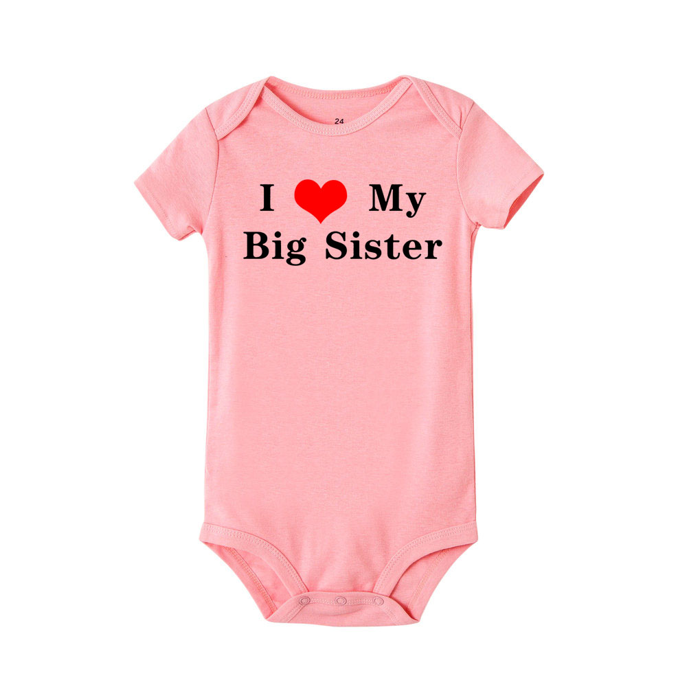 I Love My Big Sister Print NewbornRomper Infant Baby Boy Girl Short Sleeve Jumpsuit Funny Toddler Casual Rompers Outfits | Happy Baby Mama