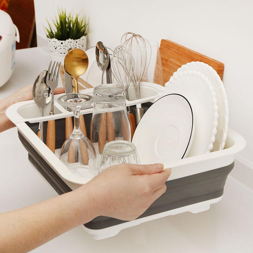 Foldable Dish Rack Kitchen Storage Holder Drainer Bowl Tableware Plate Drying For Dinnerware Shelf