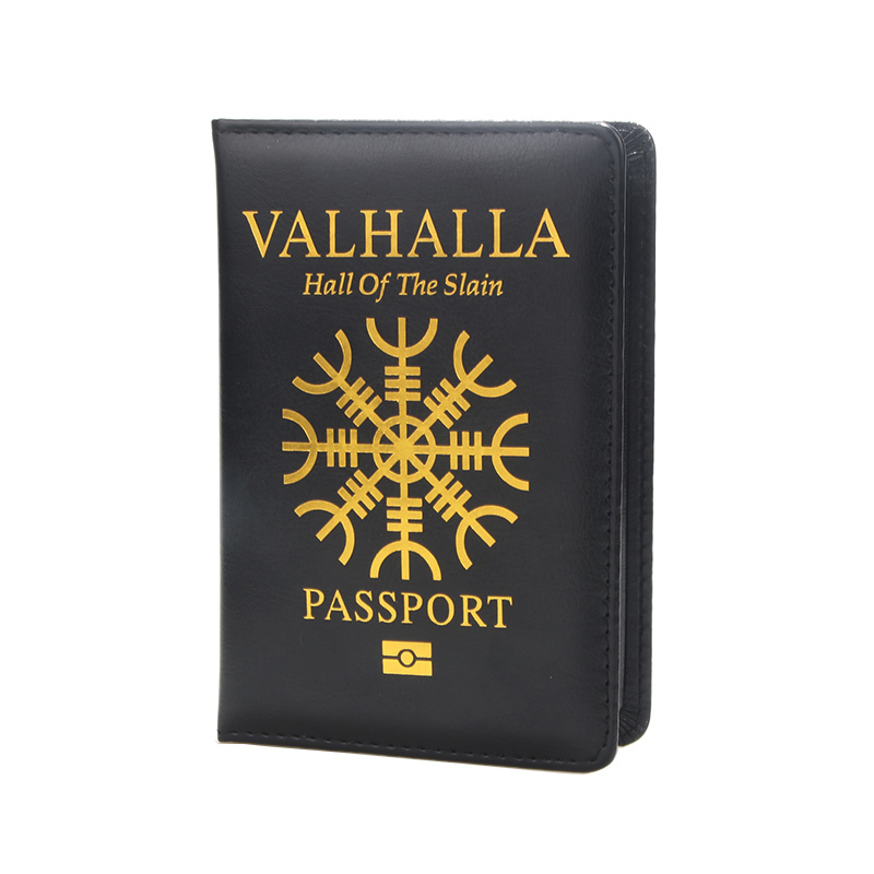 DIKEDAKU Valhalla Hall Passport Cover Men Soft Pu Leather Passport Bag Travelers Notebook Passport Printer Protector Customize