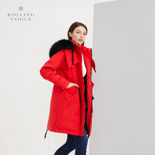2019 New Winter 80% Grey Goose Red Down Coat Pockets Long Women Oversize Streetwear Overcoat Plus Size Racoon Fur Hooded Cocoon