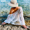 Riseado New Long Sleeved Beach Dress Sexy Swimwear Women Cover Ups Solid Belted Swimsuit Hollow Beach Wear Summer 1