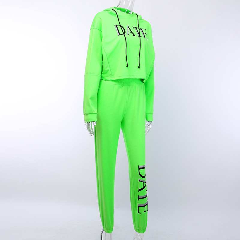 He73f629c42ef472c9b86d5fb259ddd928 - OMSJ Autumn Neon Green Two Piece Set Women Lace Up Outfits Solid Orange Casual Suit Female Clothing Crop Top and Pants Tracksuit
