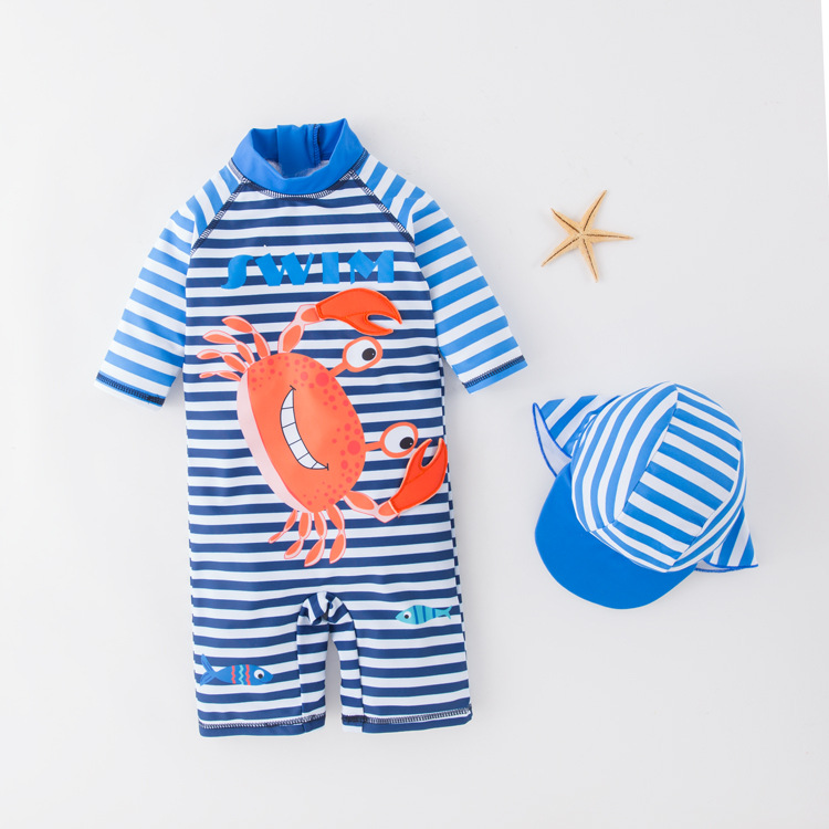 Men's One-piece Swimming Suit Blue Stripes Crab-KID'S Swimwear Hot Springs Clothing