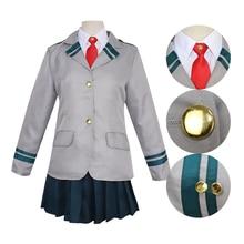Anime My Hero Academy Cosplay Costume School Uniform Jacket Skirt Tie Wig Shoes цены онлайн