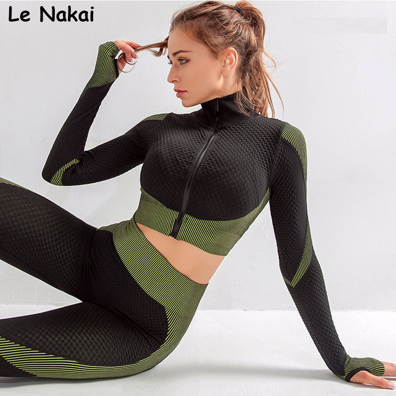 Long sleeves seamless yoga top workout gym crop tops for women running T shirt sports zip sweatshirt with thumb hole