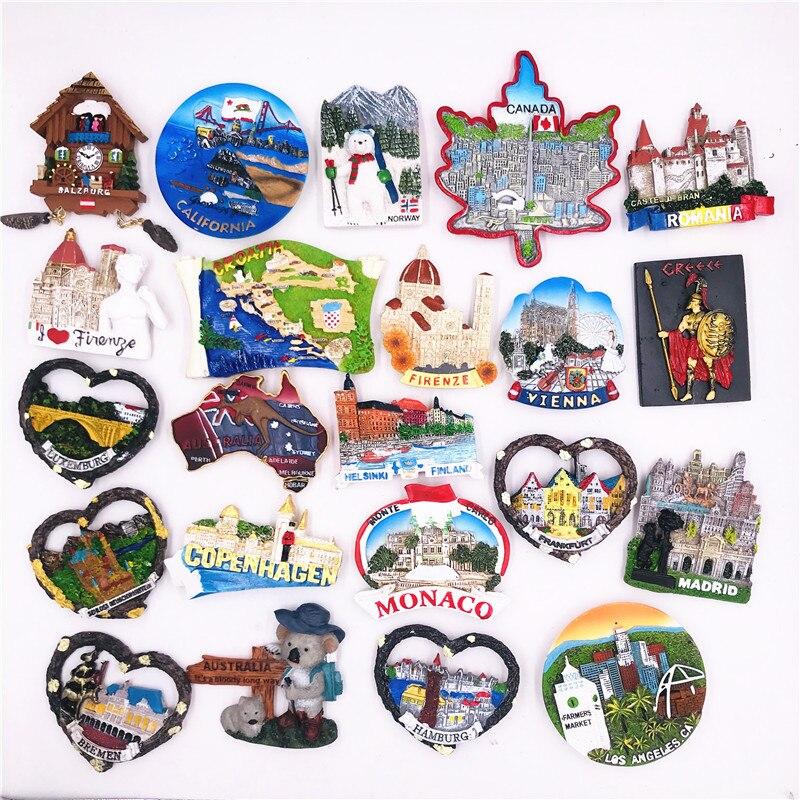 Мир туризма сувенирные магниты для холодильника Германия, Испания, Дания США Австрия Канада, Италия, Австралия Норвегия смолы холодильник С...