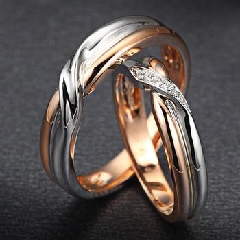 18K Two-Tone Gold Diamond Couple Ring Set Wedding Engagement Twisted Band Diamond Jewelry Engraving