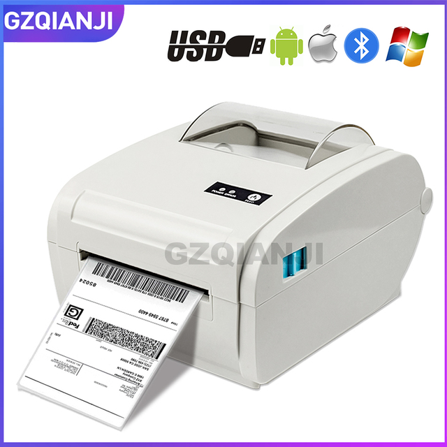 4 дюйма Термальность принтер этикеток с высоким Скорость 160 мм/сек., включающим в себя гарнитуру блютус и флеш накопитель USB для печати Стикеры/принтер для печати этикеток