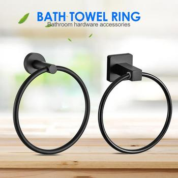 Simple Wall-mounted Round Towel Ring Matte Black Stainless Steel Clothes Rack Bathroom Supporter Hardware Accessories