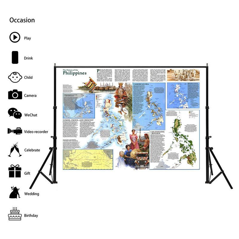 A2 World Map Philippines 1986 Personalized Map Of World 59x42cm Non-woven Detailed Poster Wall Chart Retro Paper Kraft Paper