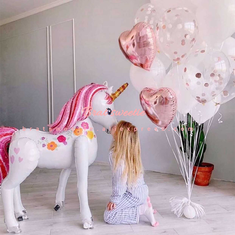 Image 3 - Unicorn Party Xmas Christmas Decorations Supplies 3D Large Unicornio Animal Foil Balloons Girls Birthday Party Favors-in Ballons & Accessories from Home & Garden