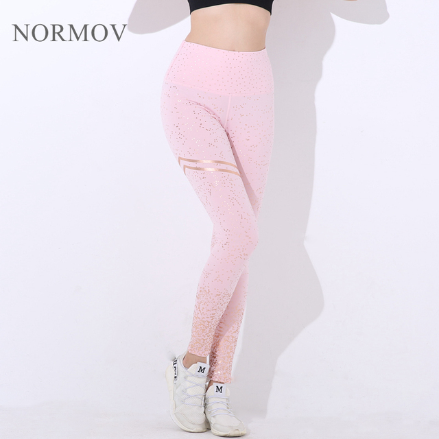 NORMOV New Hotsale Women Gold Print Leggings No Transparent Exercise Fitness Leggings Push Up Workout Female Pants 1