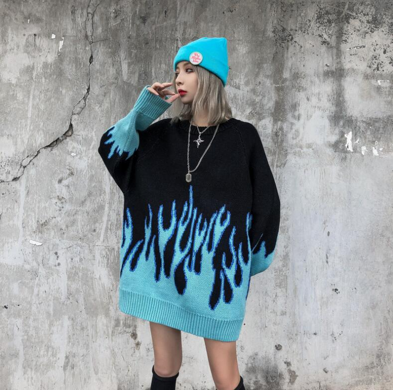 Korean loose knitted flame men and women hip hop streetwear o neck pullover sweater