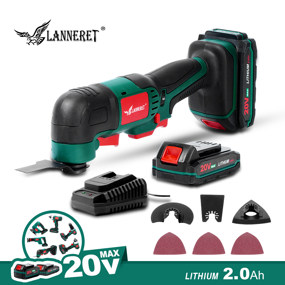 LANNERET 20V  Li-ion Oscillating Multi-Tool With 2 Battery Cordless Power Tools For Home DIY Renovation Tools
