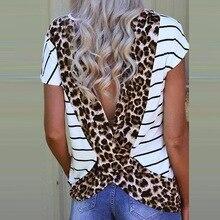 2019 Novel Fashion Summer Women T Shirt Casual O-Neck Short Sleeve Striped Basic T-Shirt Female Leopard Print Open Back Tee Tops dolman sleeve twist open back t shirt