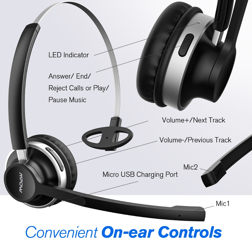 Mpow HC3 Bluetooth Headphones Crystal Clear Wireless Headphones With Dual Noise Canceling Microphones For Call Center&Trucker (1)
