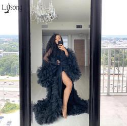 Шикарное платье из тюля с оборками, Черное длинное кимоно на тесемках, ТРАПЕЦИЕВИДНОЕ платье для выпускного вечера, Пышный рукав, Африканск...