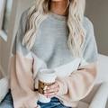 Свободный вязаный свитер, женские джемперы с длинным рукавом и круглым вырезом, женские пуловеры, свитер 2020, Осень-зима, цветной Повседневны...