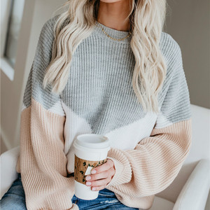 Loose Knitted Sweater Women Jumpers Long Sleeve o-neck Woman Pullovers Sweater 2020 Autumn Winter Color Block Casual Sweater New