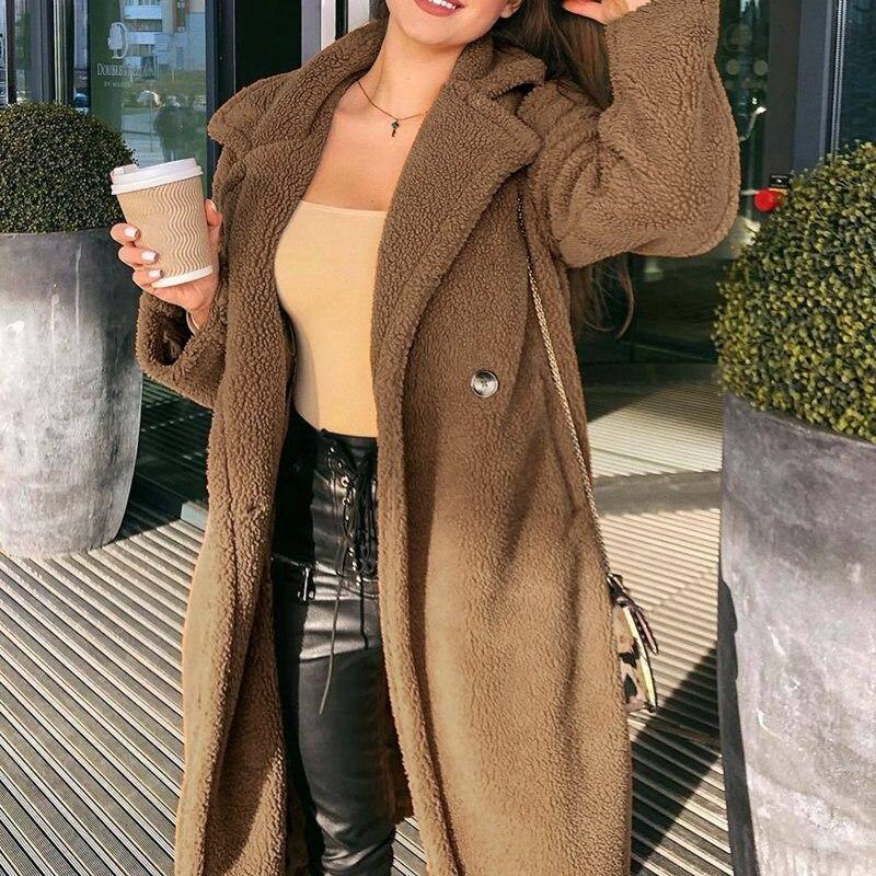 2021 Long Teddy Coat Women Jacket 2020 Autumn Winter Thick Warm Padded Jackets Coats Oversized Ladies Lambswool Fur Coats