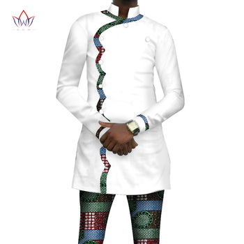 Bazin Riche African Print Chinese Style Button Top and Pants Sets Ankara Clothes 2 Pieces Pant Sets Mens African Clothing WYN408