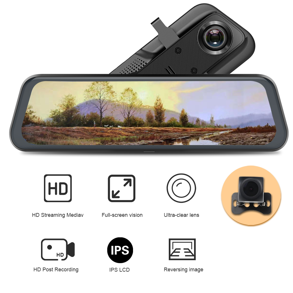 stream media Pro Stream <font><b>RearView</b></font> <font><b>Mirror</b></font> <font><b>Car</b></font> <font><b>Dvr</b></font> <font><b>Camera</b></font> FHD 1080P video recorder night vision waterproof dash cam image