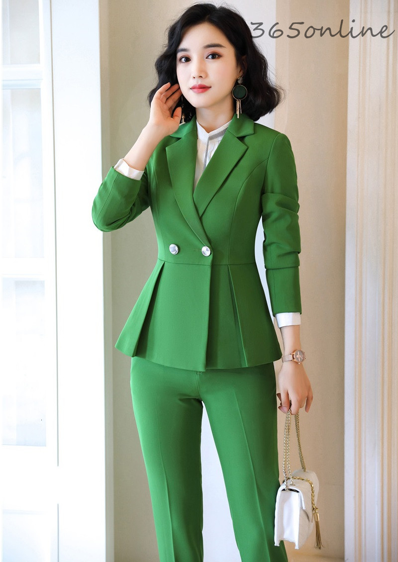 2019 Autumn Winter Formal Women Business Suits OL Styles Professional Office Work Wear Pantsuits For Ladies Blazers Pants Suits