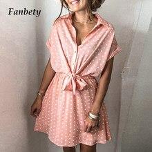 Summer Short Sleeve Polka Dot Printed Dress Elegant Lace-Up Elastic Waist Party Dresses Women Button Turn-Down Collar Mini Dress