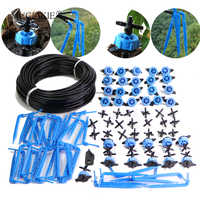 20M 30M 8LPH Compensation Dripper Watering Drip Kits Patio 4-Way Distribution Irrigation for Greenhouse Blue Bending Emitter