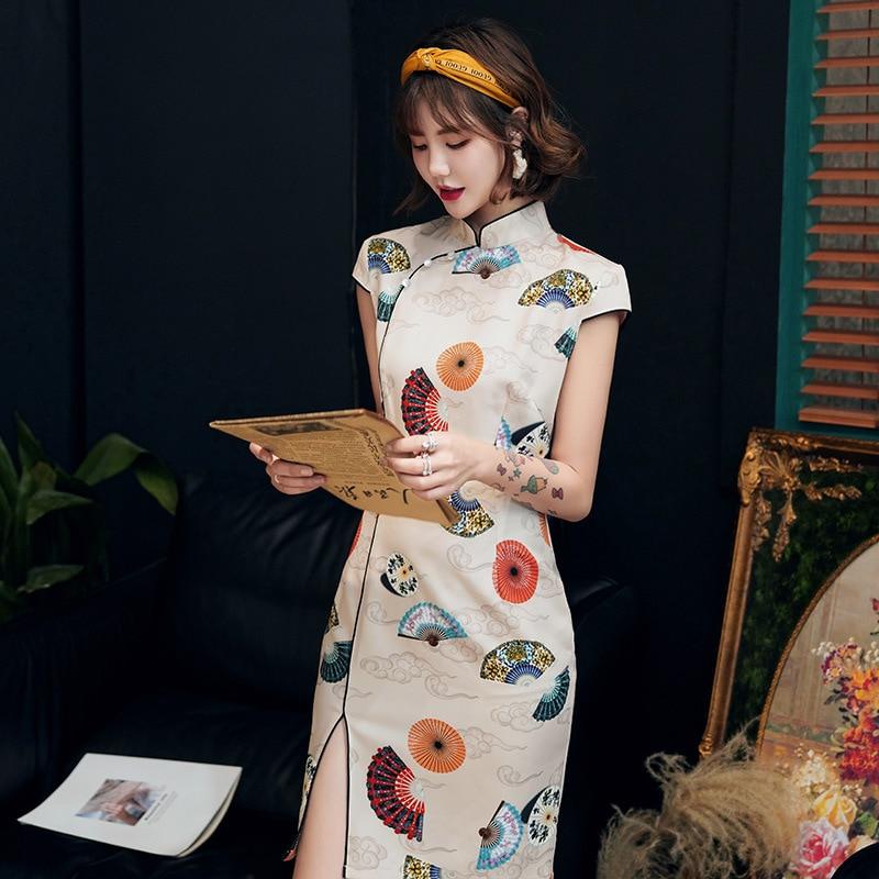 Chinese Dress Qipao Girl Summer Print Women Dresses