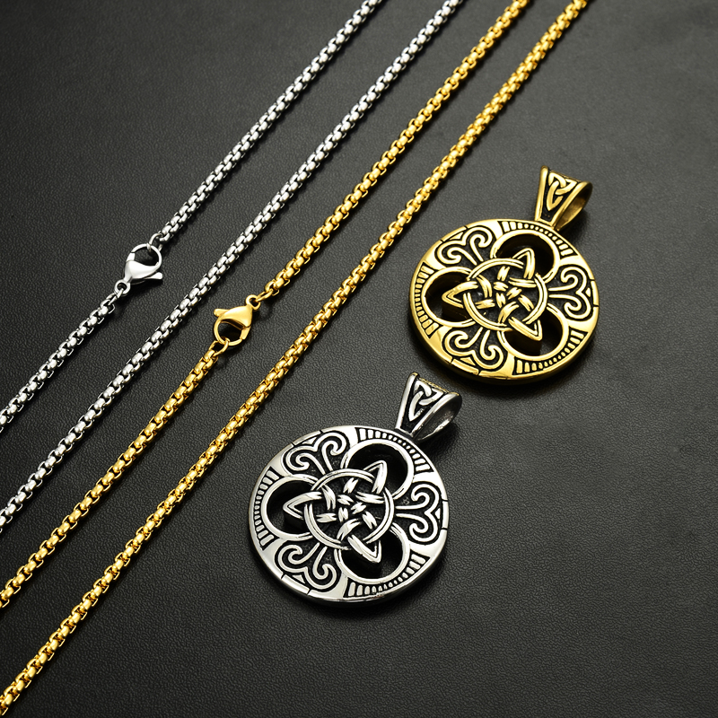 Muški srebrni irski čvor Triquetra ogrlica od nehrđajućeg čelika - Modni nakit - Foto 6