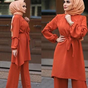 Eid Two Piece Muslim Sets Abaya Women Turkey Lace up Hijab Dress Caftan Moroccan Kaftan