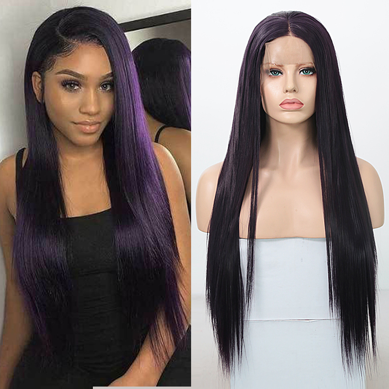 RONGDUOYI Dark Purple Silky Straight Synthetic Lace Front Wig Middle Part Long Cosplay Wigs For Women Heat Resistant Lace Wig