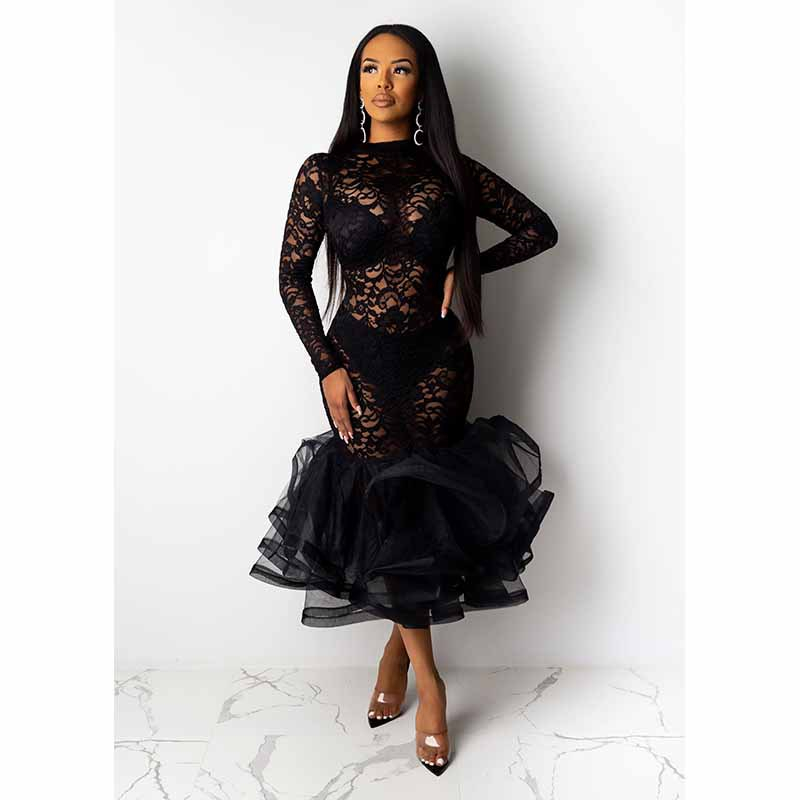 He740f0d6b1cb40ce97ba50b50c0c3f5bF - Black Organza Ruffle Sheer Lace Party Dress Spring Mock Neck Long Sleeve Mermaid Evening Gown Maxi Club Party Dress Vestido