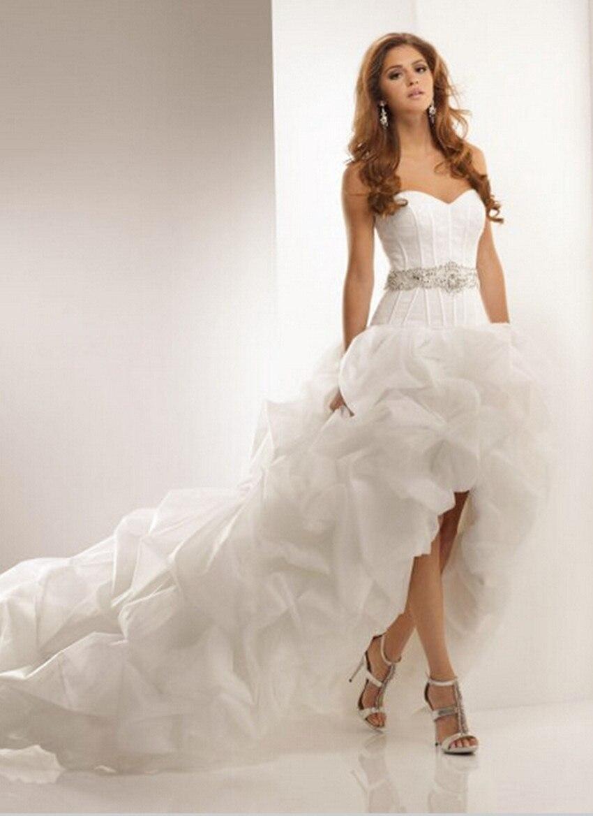 Vestido De Noiva 2016 Wedding Dress Short Front Long Back Lace Up Backless Bride Dress Bridal Gown Sleeveless Wedding Gowns