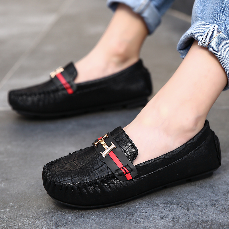 2020 New Children Flat Shoes Boys Loafers Soft Sole Kid Leather Shoes Fashion Red Girls Shoes Luxury Brand Kid Boy Casual Shoes