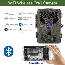 Mostrar ao vivo selvagem trilha câmera wifi app controle bluetooth câmeras de caça wifi830 20mp 1080p visão noturna animais selvagens foto armadilhas