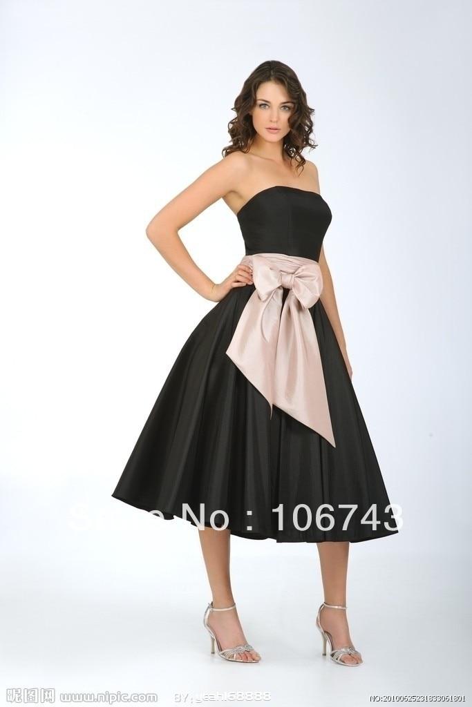 Free Shipping 2016 New Fashion Vestidos Formal Elegant Plus Size Bow Belt Black Short Weddings Party Gown Bridesmaid Dresses