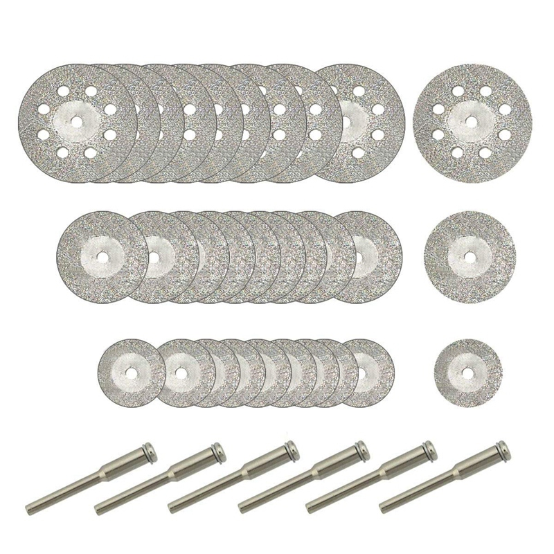 30 Pcs Diamond Cutting Wheel (25Mm/20Mm/16Mm Each 10), Diamond Coated Cutting Wheel And 6Pcs 3Mm Mandrel For Rotary Tool