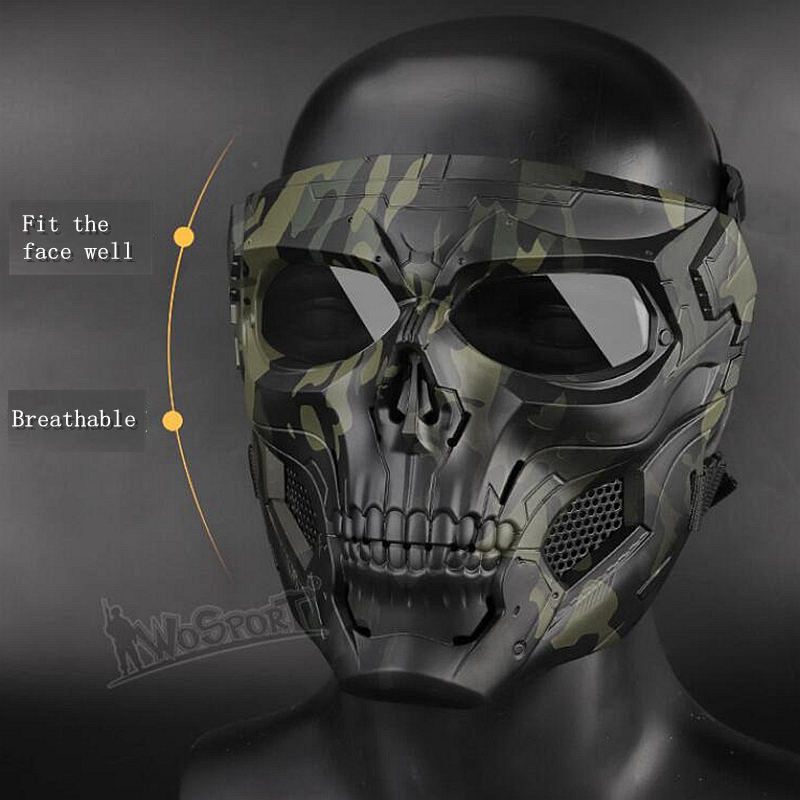 New CS Paintball Tactical Skull Masks Breathable Shooting Hunting Masks Men Full Face Airsoft Comfortable Military Skull Mask