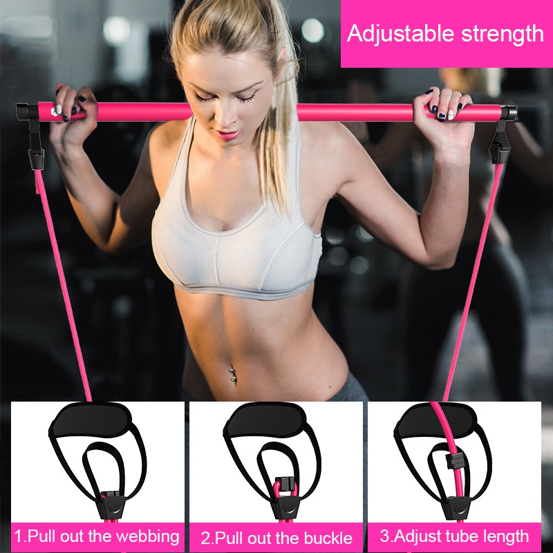 New Portable Pilates Bar Kit With Resistance Band Adjustable Pilates Exercise Stick Toning Bar For Fitness Yoga Gym Body Workout
