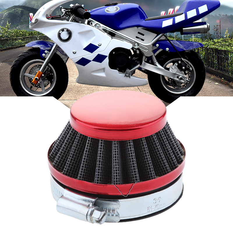 1 Pcs 58mm Cone Air Filter With Rubberneck Coupler For 2.28″ Inside Opening Carburetors 49CC-80CC 2-Stroke ATV Motorcycle Etc