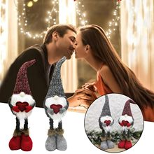 4 # yeni sevgililer günü süslemeleri kırmızı ve gri aşk örgü teleskopik yüzü olmayan bebek İskandinav tarzı Elf bebek süsleri hediyeler