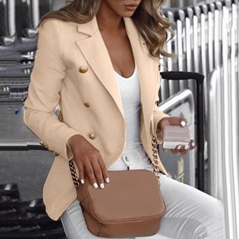 Women's Double-Breasted Lapel Long Sleeve Coats Suit Ladies Pure Color Outerwear Casual Fashion Big Promotion