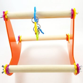 Bird Wood Swing Perch Toy for Parrot Parakeet Cockatiel Conure Cockatoo Macaw Lovebird Finch Canary Budgie Cage Stand 3
