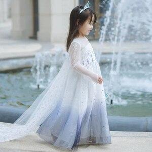 Платье Снежной Королевы для девочек 2, платье Эльзы, Детский карнавальный костюм Эльзы, детская одежда для дня рождения, белый парик, одежда ...