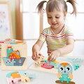 Высокое качество 3D деревянная головоломка Монтессори развивающие игрушки Раннее Обучение познание дети мультфильм хватать интеллект голо...