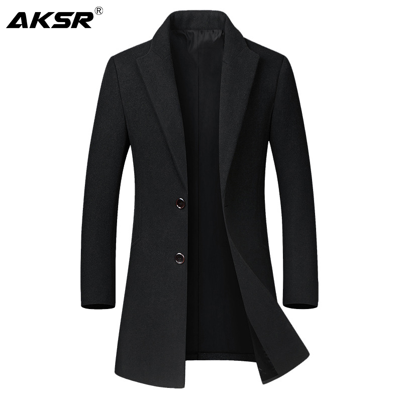 AKSR Men Trench Coat Wool Blends Men's Windbreaker Jacket Long Sleeve New Autumn and Winter Solid Color Thick Coat Size M-4XL