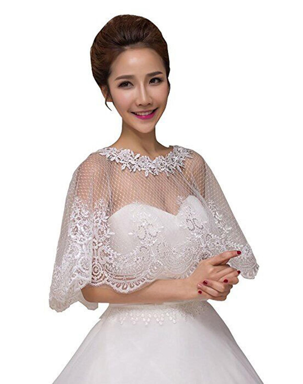 Hot Sale Lace Bridal Boleros Bridal Bridesmaid Cape Appliques Wedding Jackets White Ivory Wraps Wedding Accessories In Stock
